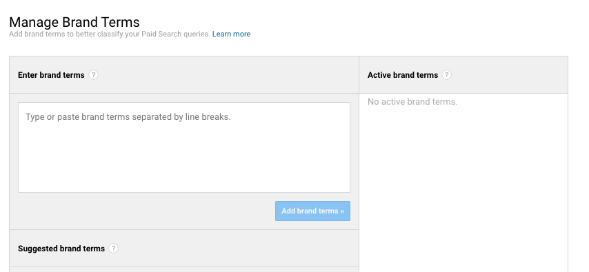managing brand terms in Google Analytics
