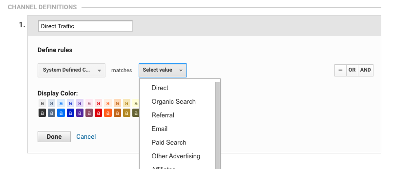 System defined channels in Google Analytics