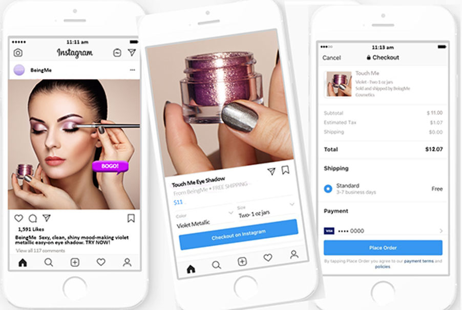 Image of instagram shopping in action for a beauty brand.