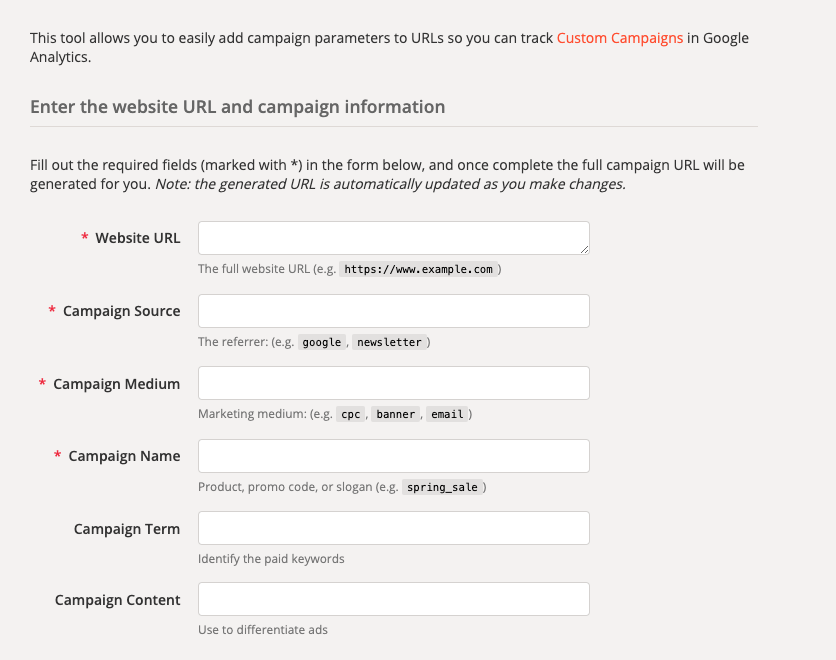 Google's Campaign URL builder tool to create custom UTM codes