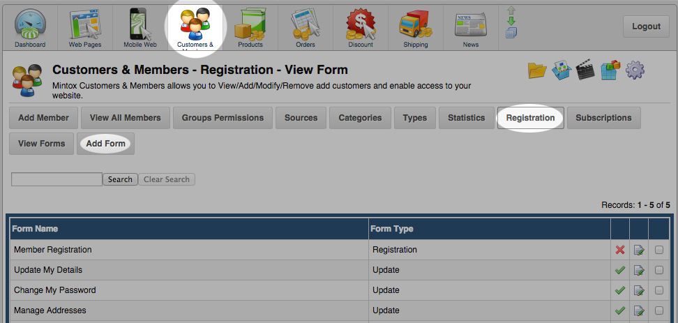 Customers and Members registration form screenshot Mintox instructions